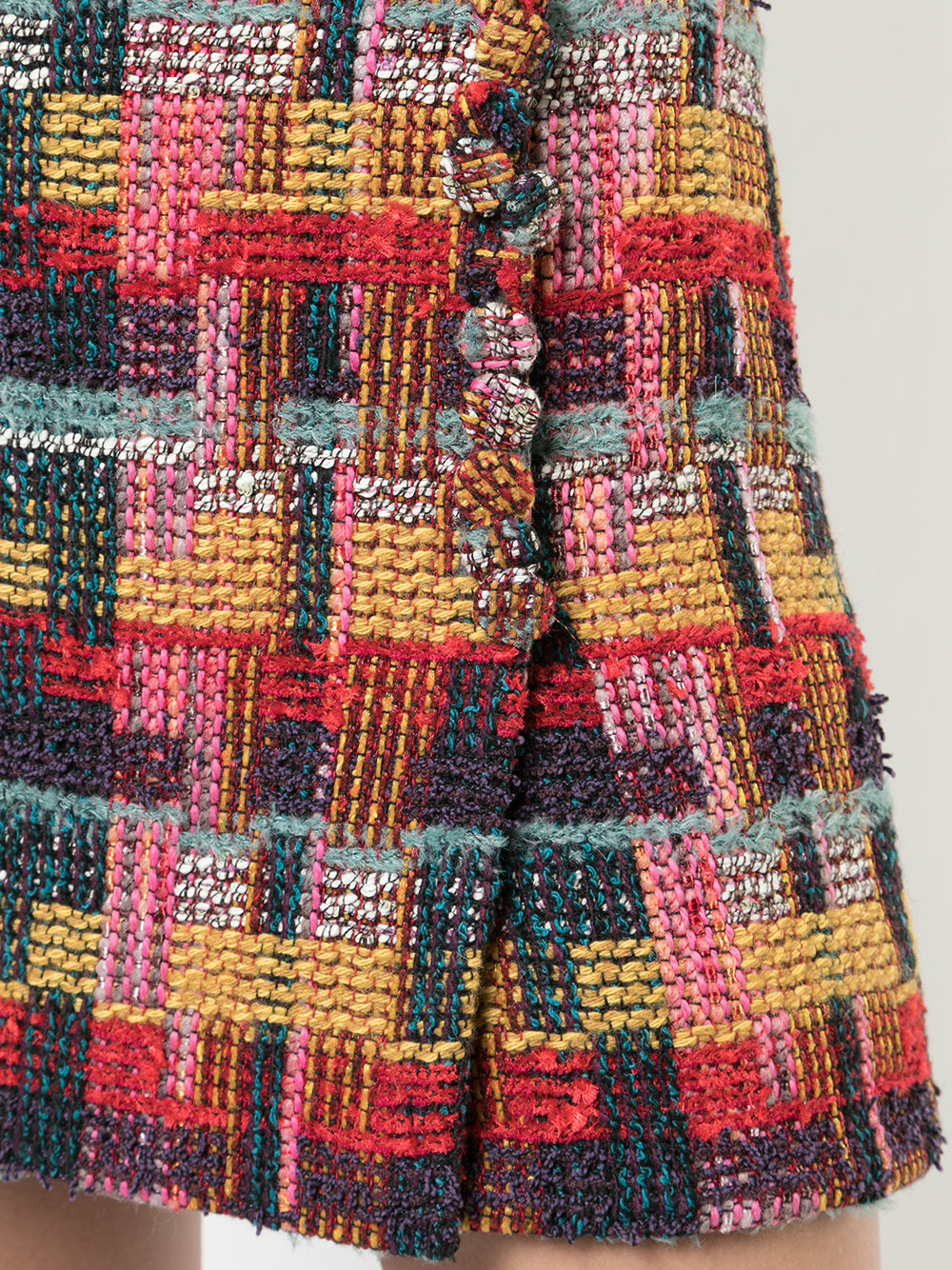 TWEED MINI WRAP SKIRT WITH BUTTONS
