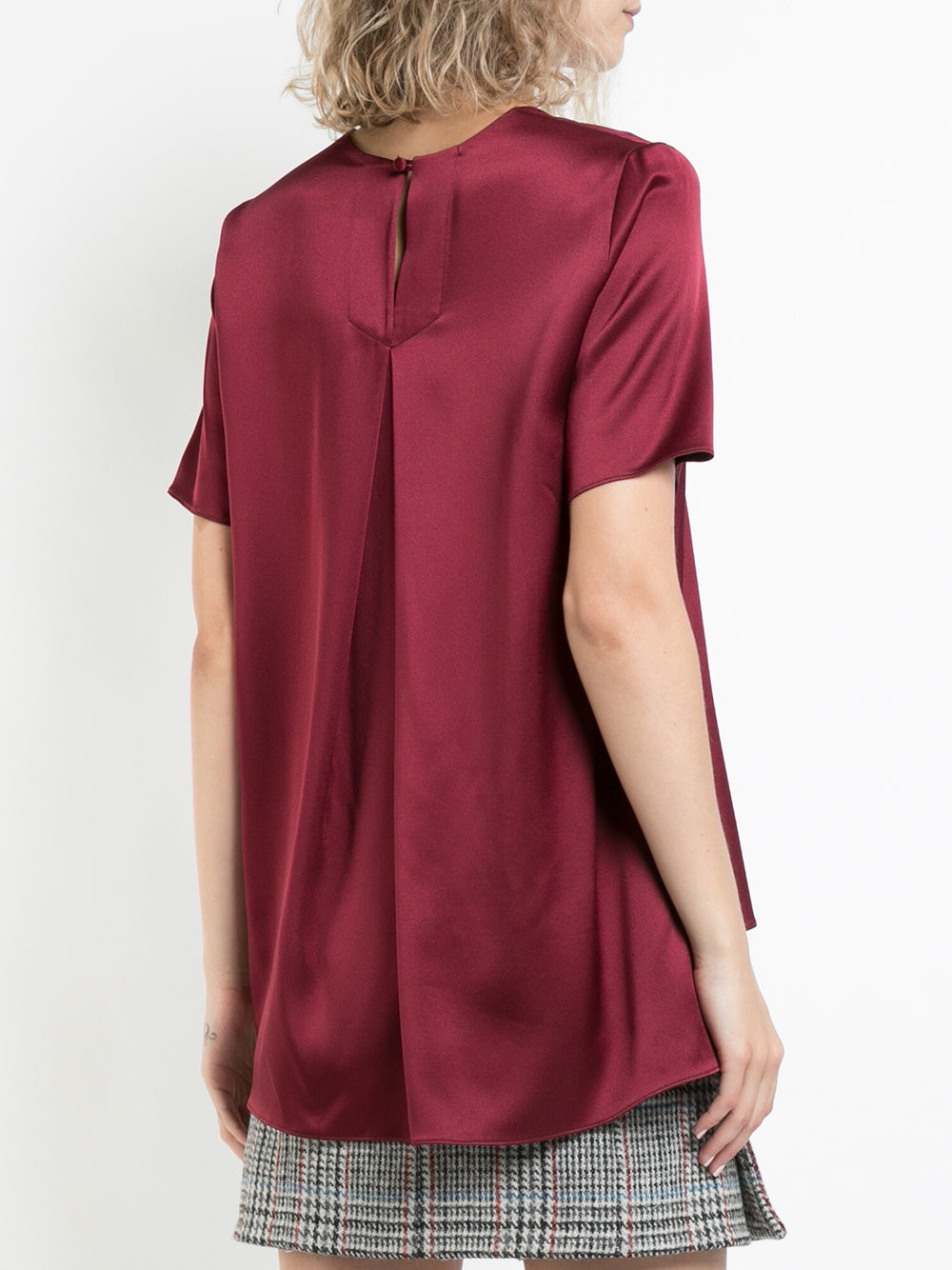 SILK CHARMEUSE SHORT SLEEVE T-SHIRT