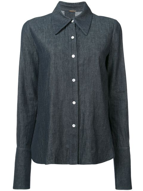 DENIM CHAMBRAY CROSS BACK MENSWEAR SHIRT