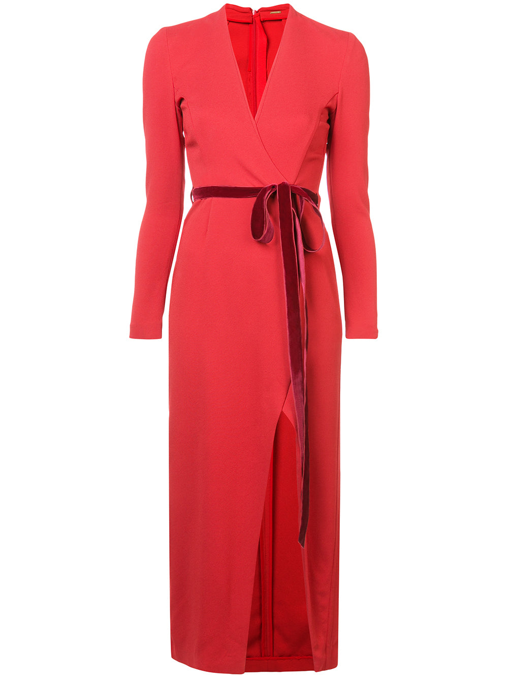 STRETCH CREPE LONG SLEEVE MIDI WRAP DRESS WITH VELVET RIBBON BELT
