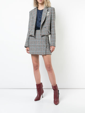 SCOTTISH TWEED BOXY CROPPED BLAZER WITH CRYSTAL BROOCH