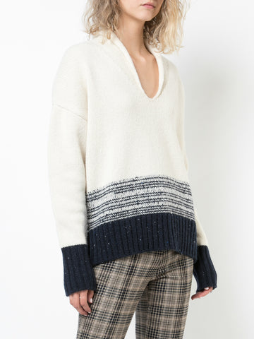 HAND-KNIT TWEED PUFF SLEEVE SWEATER