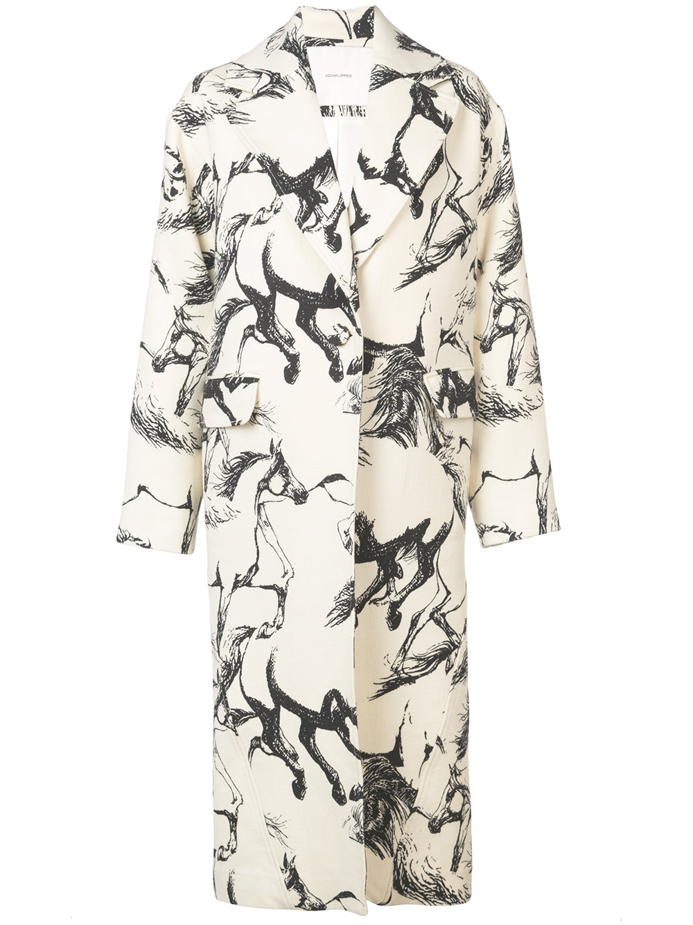 PRINTED WOOL COCOON COAT