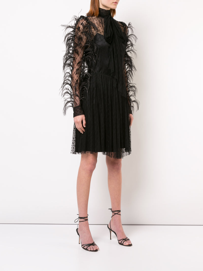 POINT DESPRIT MOCKNECK MINI DRESS WITH FEATHER EMBROIDERY