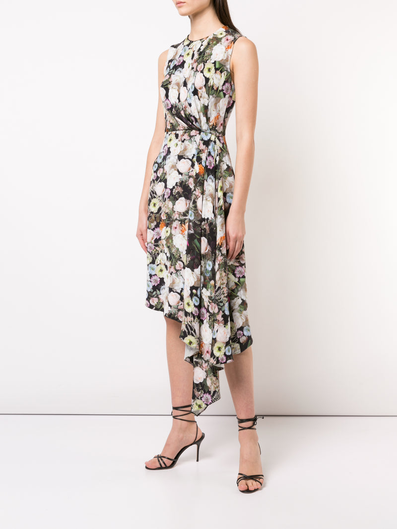 PRINTED SILK CREPE DRAPED SLEEVELESS DRESS