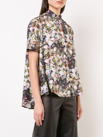 PRINTED SILK CREPE COWL NECK TOP