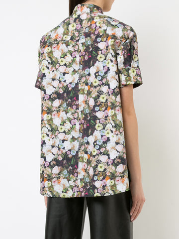 PRINTED POPLIN SHORT SLEEVE TRAPEZE SHIRT