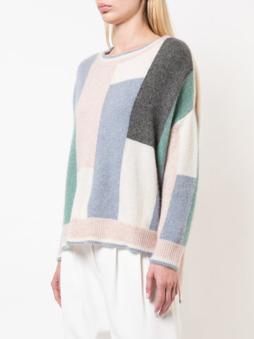 MERINO WOOL CHECKERBOARD SWEATER