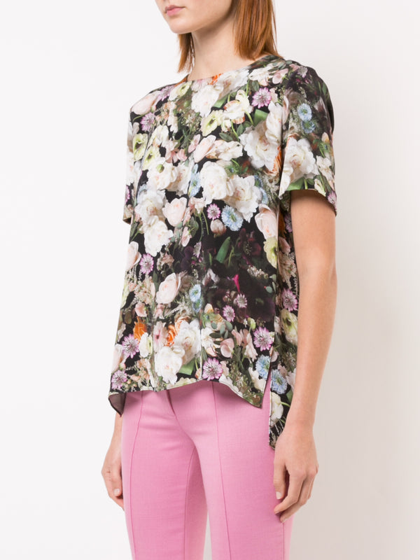 PRINTED SILK CREPE T-SHIRT