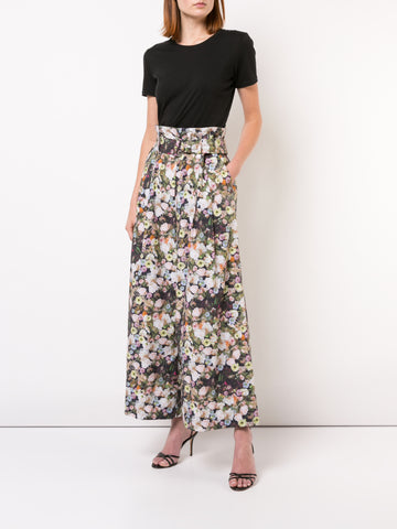 PRINTED SATIN CREPE WIDE LEG PANT