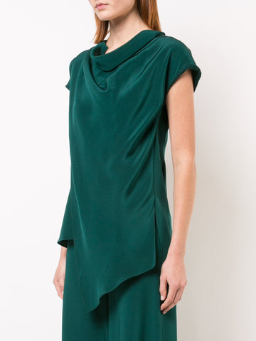 SILK CREPE COWL NECK TOP