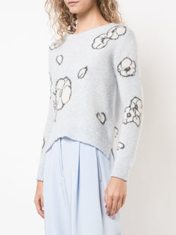 BRUSHED CASHMERE FLORAL INTARSIA SWEATER