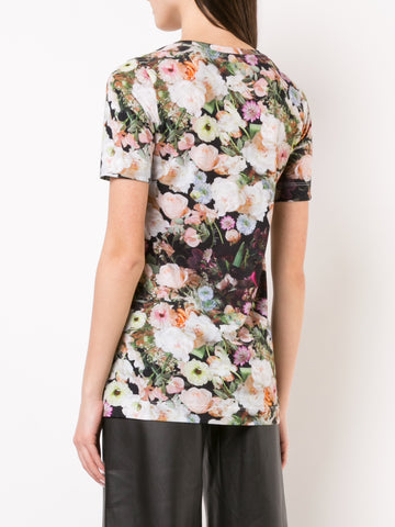 PRINTED COTTON JERSEY SCOOP NECK T-SHIRT