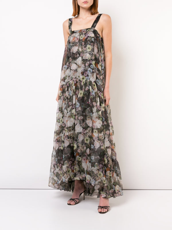 PRINTED ORGANZA GOWN