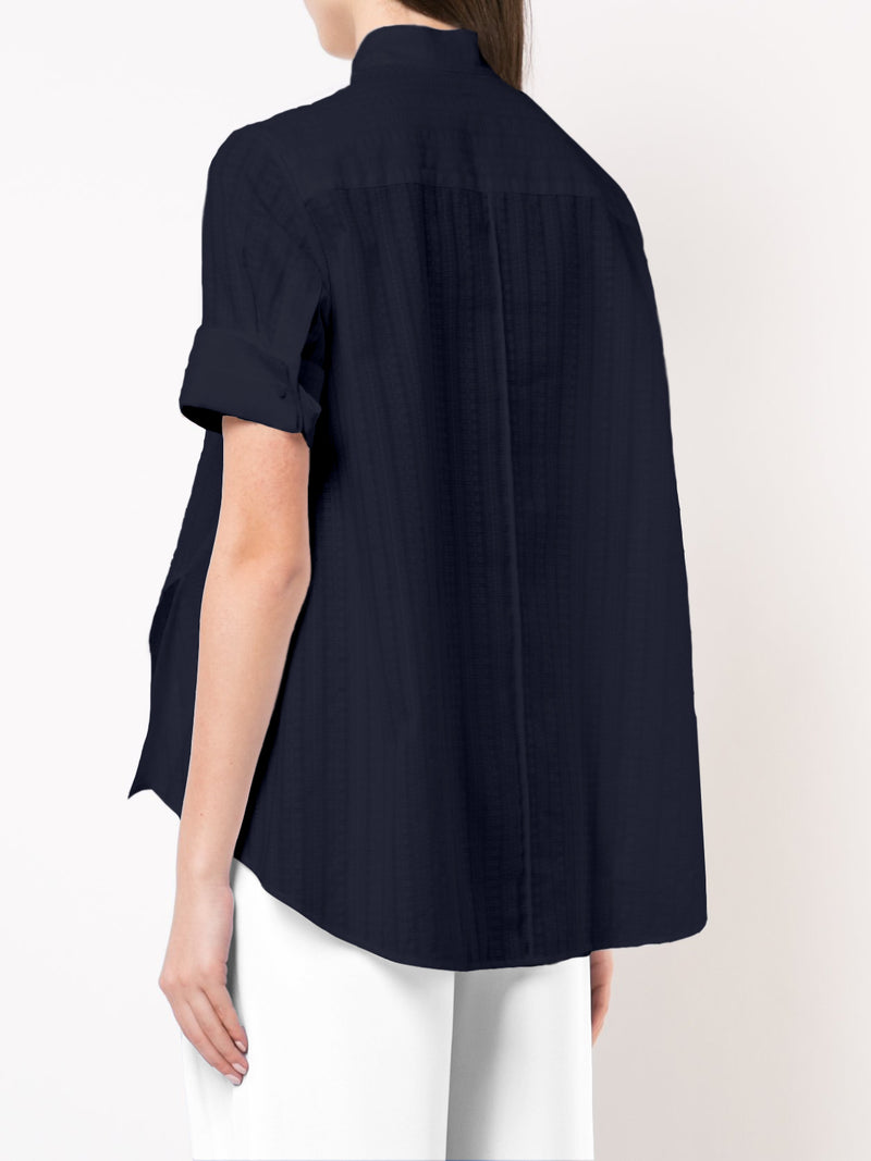 VOILE SHORT SLEEVE TRAPEZE SHIRT