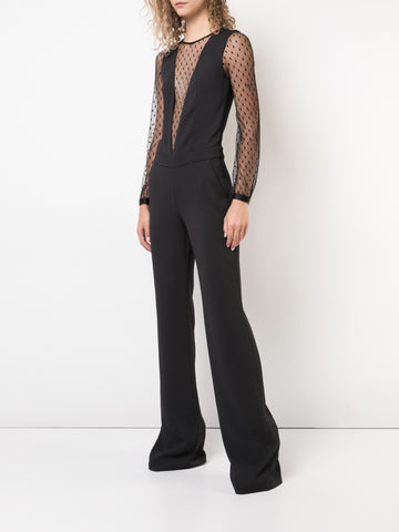 STRETCH CREPE JUMPSUIT WITH POINT DESPRIT