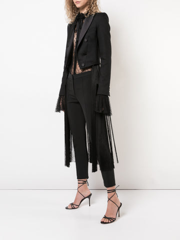 DOUBLE FACE WOOL BLAZER WITH REMOVABLE FRINGE DETAIL