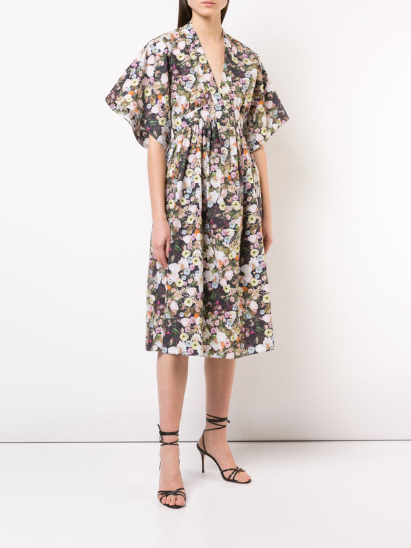 PRINTED POPLIN V-NECK DRESS
