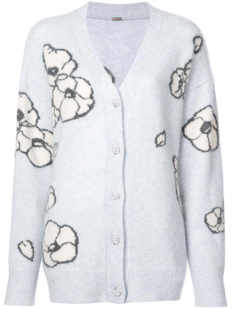 BRUSHED CASHMERE KNIT FLORAL INTARSIA CARDIGAN