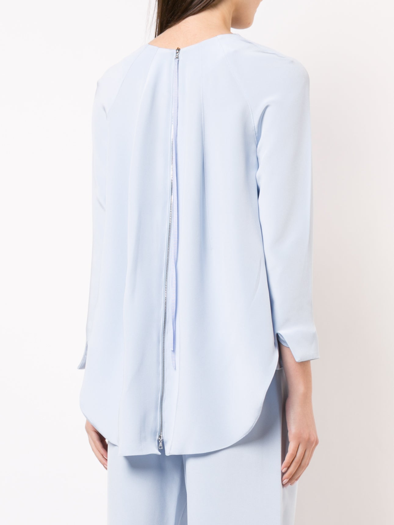 GATHERED SILK CREPE BLOUSE WITH ZIP BACK