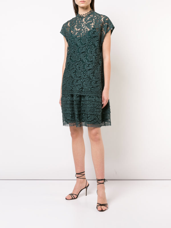 CORDED LACE DOUBLE LAYER MINI DRESS