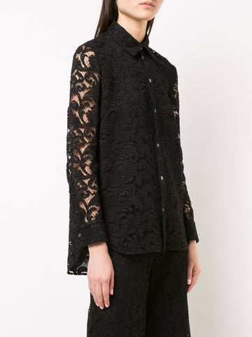 COTTON JACQUARD LONG SLEEVE TRAPEZE SHIRT