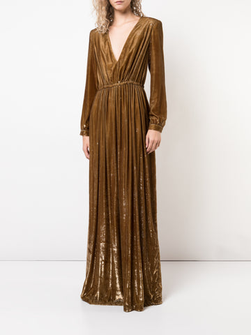 LIQUID VELVET DEEP V-NECK GOWN