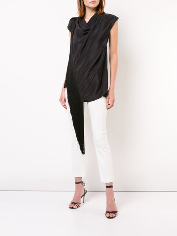 SILK CREPE COWL NECK TOP WITH FRINGE