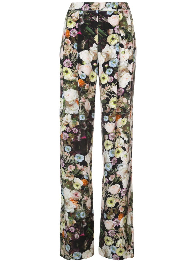 PRINTED SILK CREPE PLEAT FRONT TROUSER