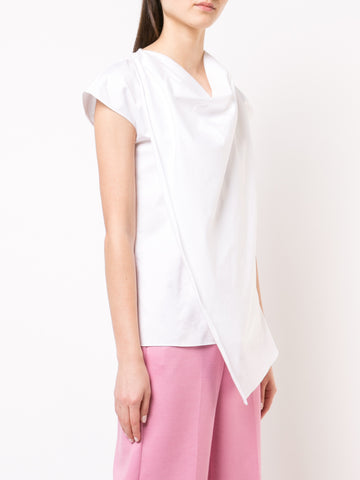 COTTON POPLIN COWL NECK TOP