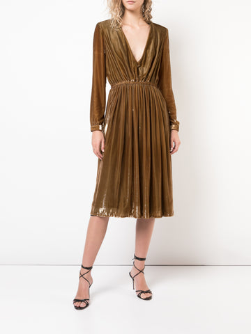 SILK CHARMEUSE MIDI DRESS WITH VELVET STRAPS