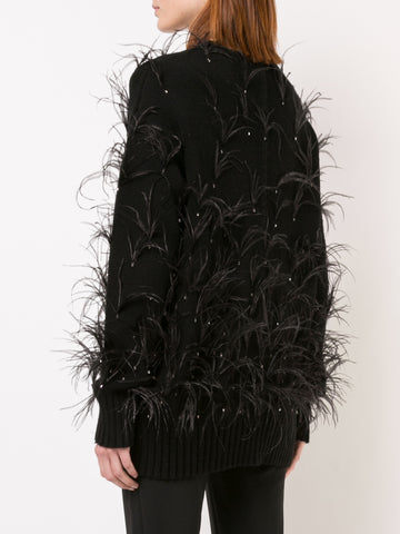 WOOL CASHMERE CARDIGAN WITH FEATHER AND CRYSTAL EMBROIDERY