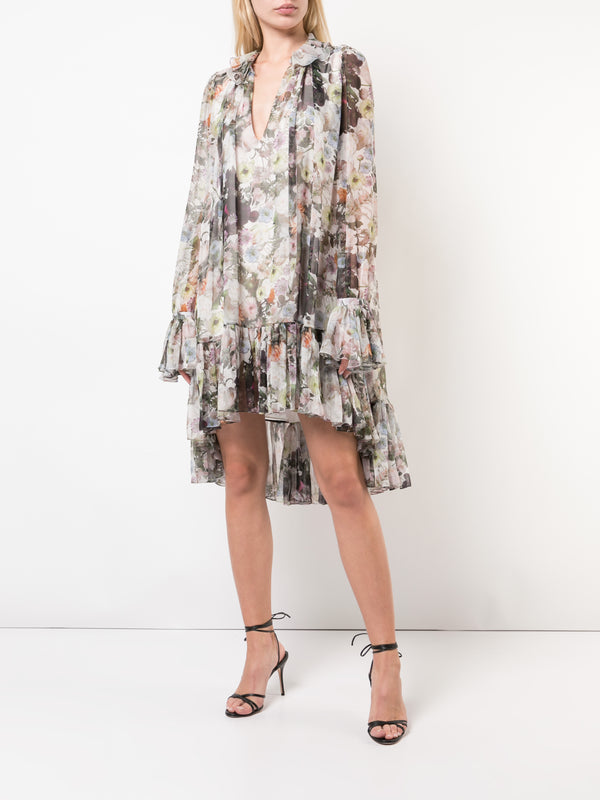 PRINTED CHIFFON TRAPEZE DRESS WITH RUFFLE TRIM