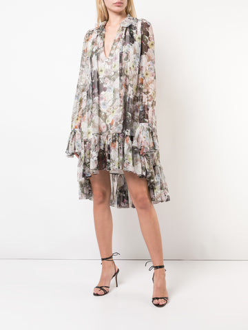 PRINTED SILK CREPE V-NECK GOWN