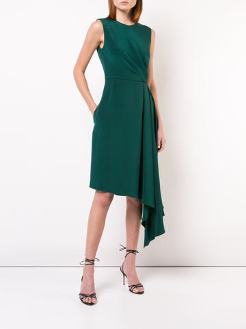 SILK CHARMEUSE SLEEVELESS TURTLENECK DRESS WITH RUCHED WAIST