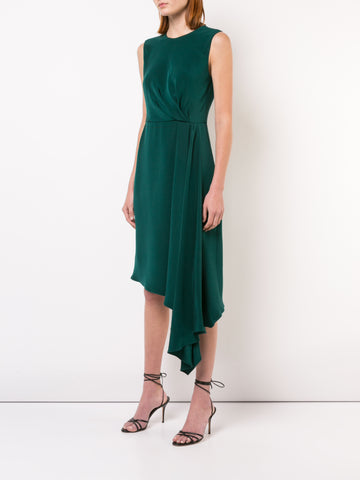 SILK CREPE DRAPED SLEEVELESS CREWNECK DRESS