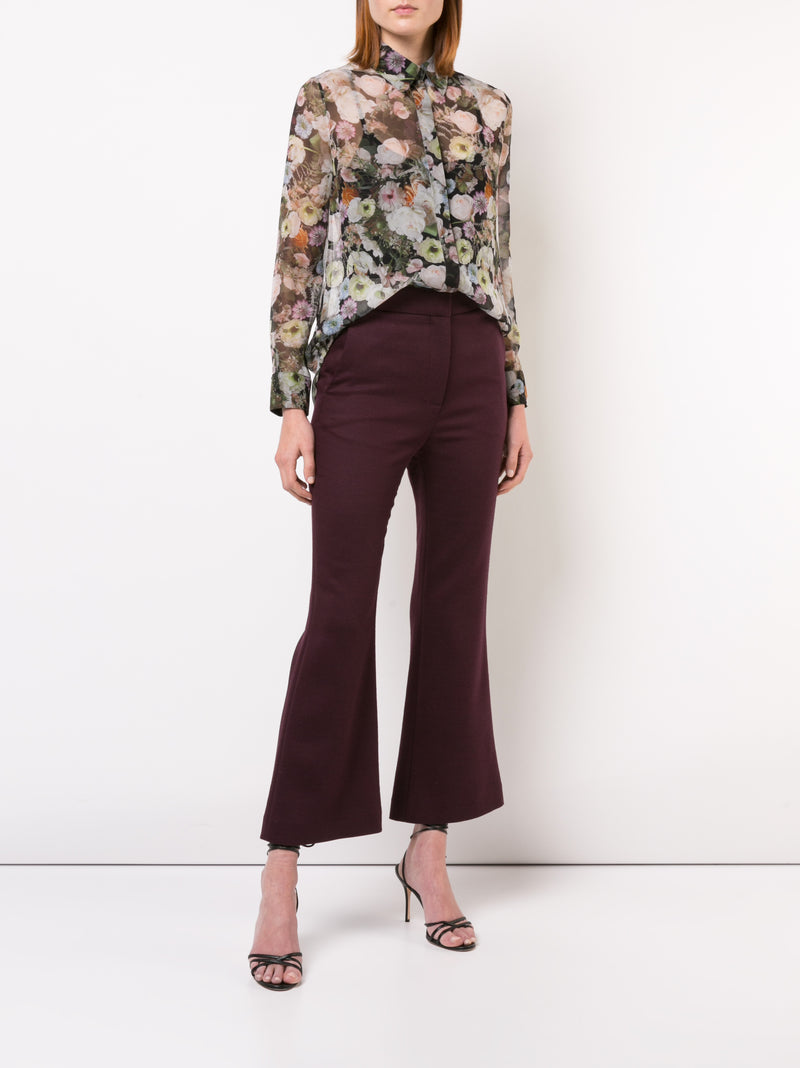 DOUBLE FACE WOOL CROPPED BELL BOTTOM PANT