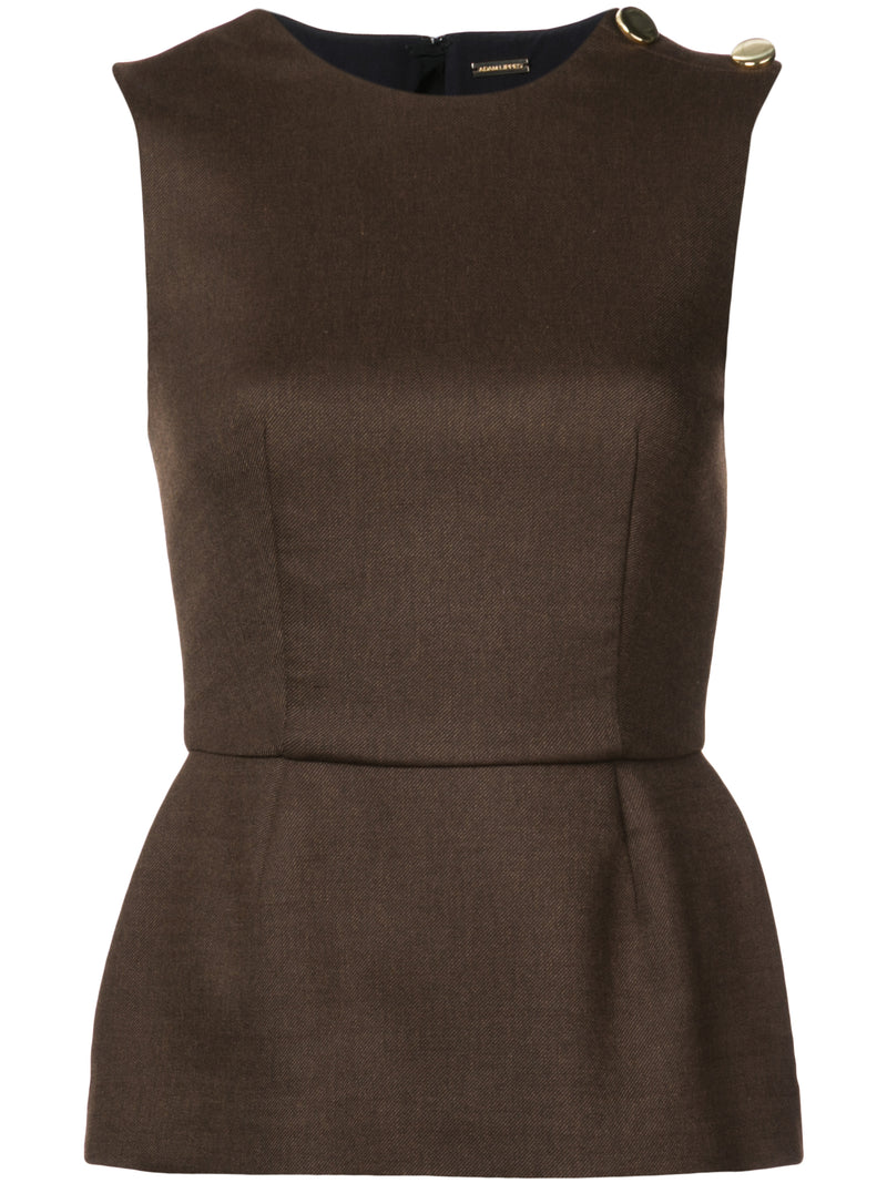 DOUBLE FACE WOOL PEPLUM TOP