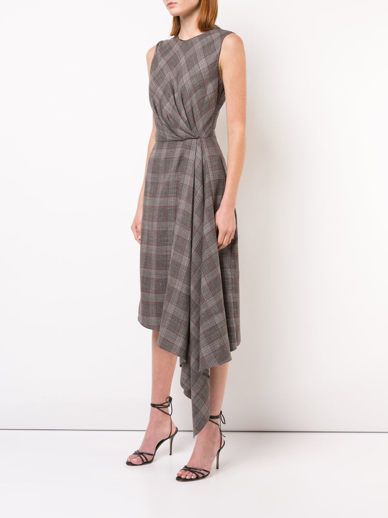 LORO PIANA PLAID DRAPED SLEEVELESS CREWNECK DRESS
