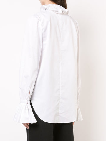COTTON POPLIN BLOUSE WITH RUFFLE COLLAR
