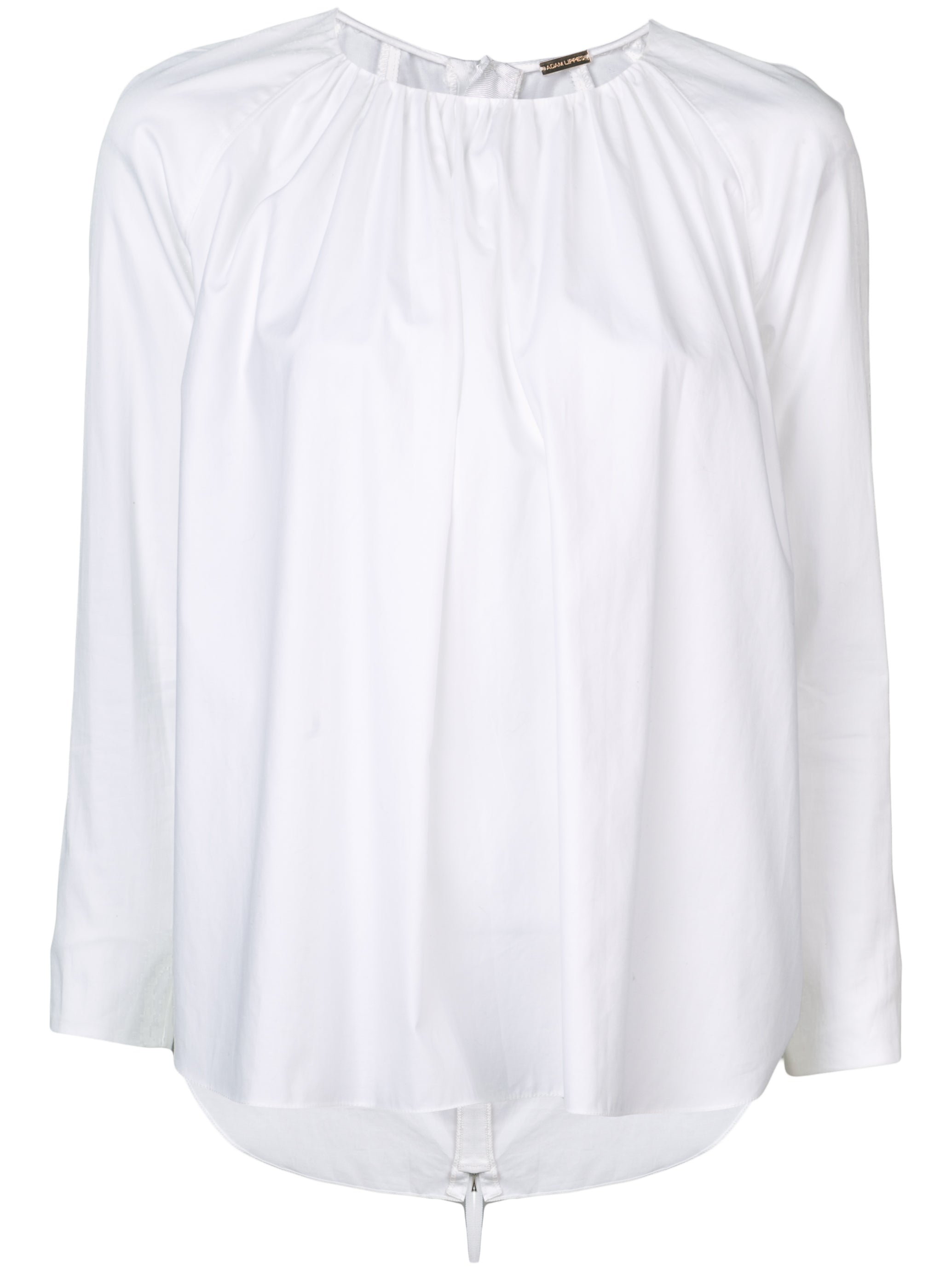 GATHERED COTTON POPLIN BLOUSE WITH ZIP BACK