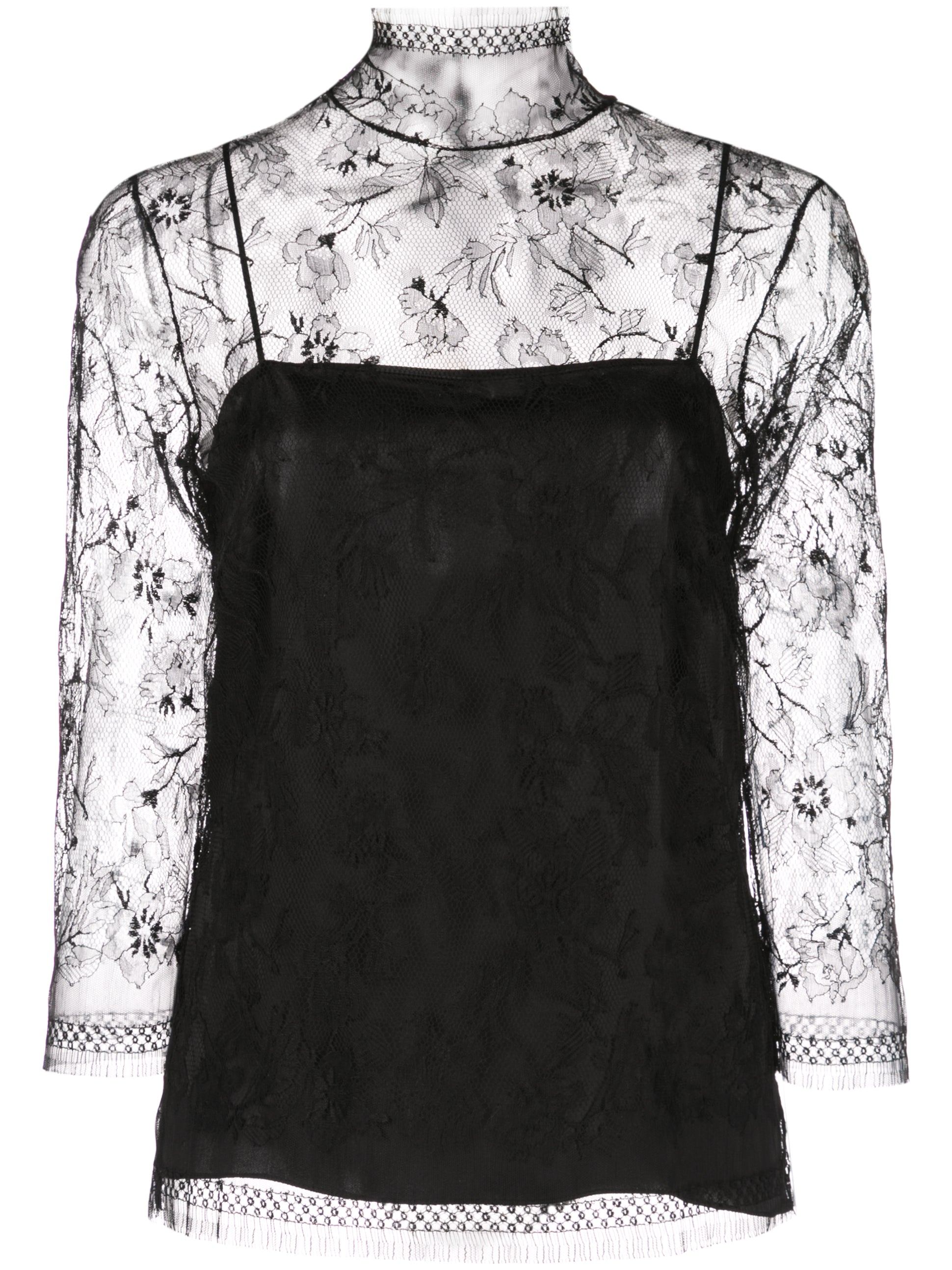 CHANTILLY LACE 3/4 SLEEVE TURTLENECK