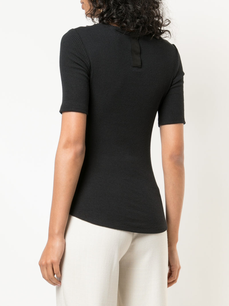 RIB JERSEY FITTED T-SHIRT