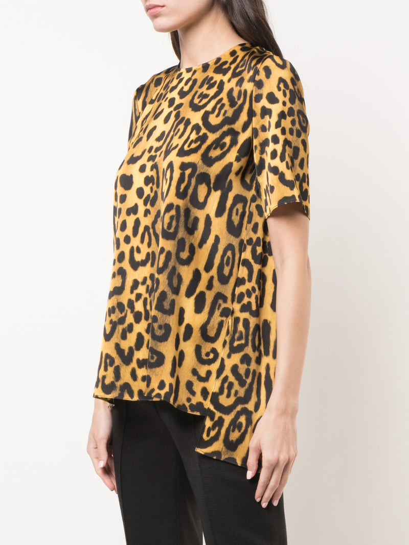 PRINTED SATIN CREPE T-SHIRT