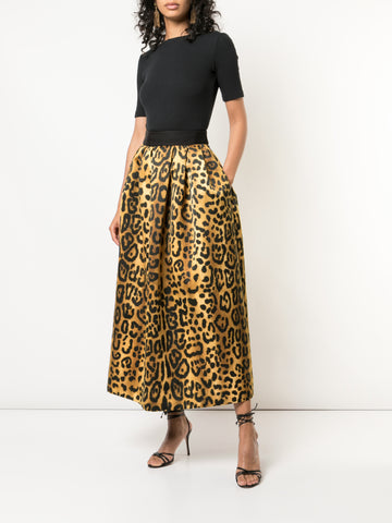BRUSHED CASHMERE FLORAL INTARSIA KNIT SKIRT