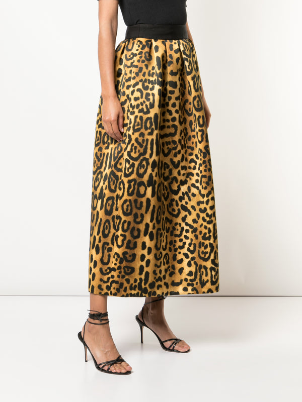 PRINTED DUCHESS SATIN MIDI BALL SKIRT