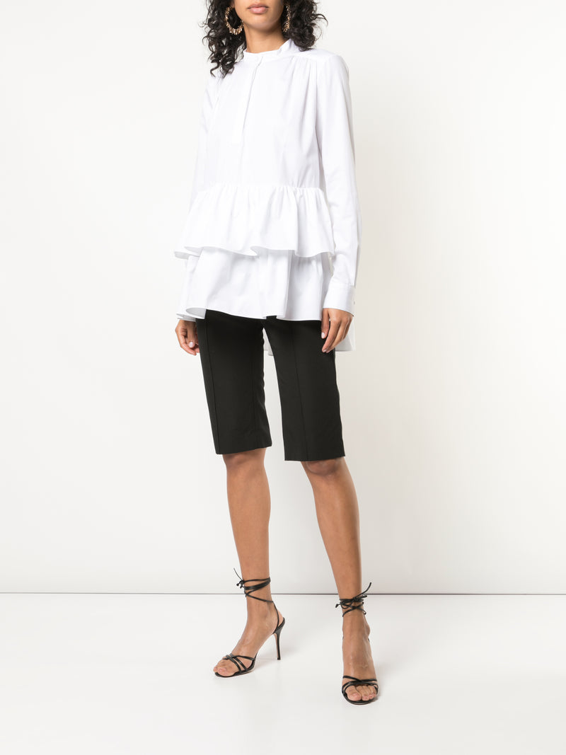 COTTON POPLIN TIERED RUFFLE SHIRT