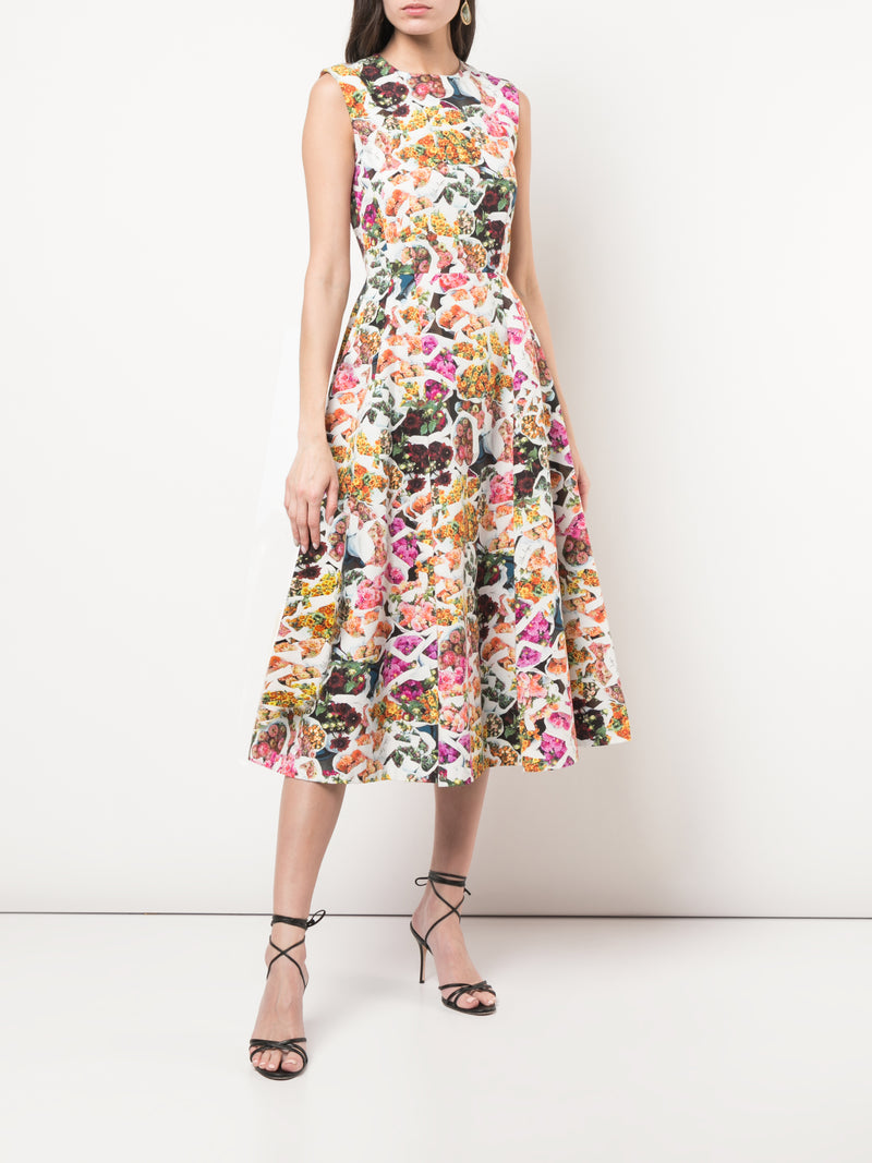 PRINTED COTTON SILK FAILLE FLUTED DRESS