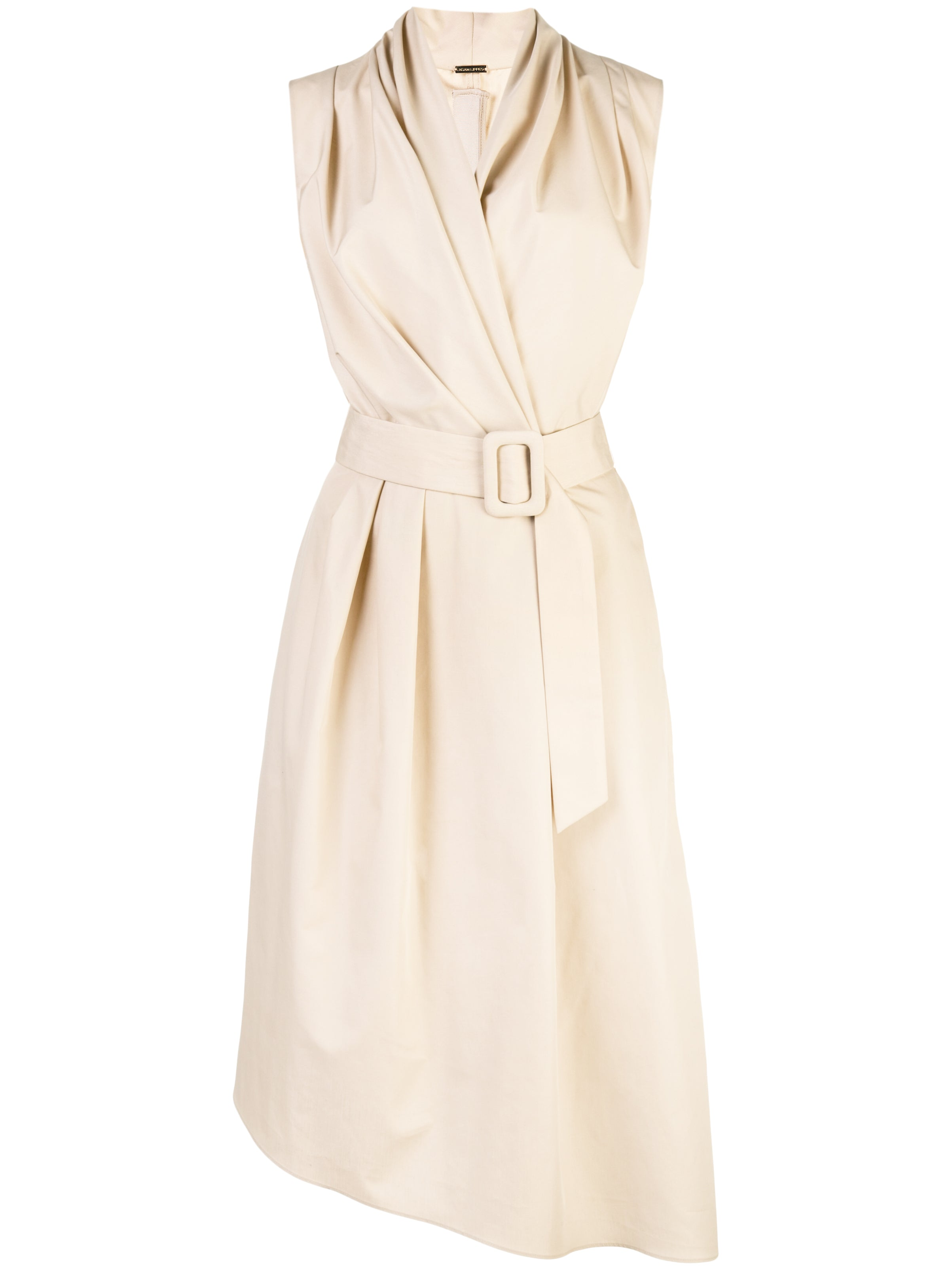 COTTON POPLIN V-NECK DRESS WITH BELT