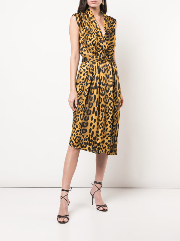 PRINTED SATIN CREPE V-NECK DRESS WITH BELT